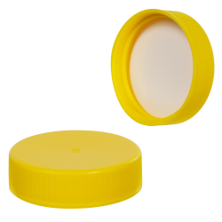 38/400 Yellow Polypropylene Ribbed Cap with F217 Liner