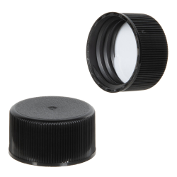 24/414 Black Polypropylene Ribbed Cap with F217 Liner