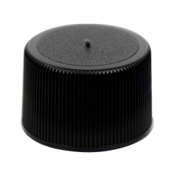 24/410 Black Polypropylene Unlined Ribbed Cap