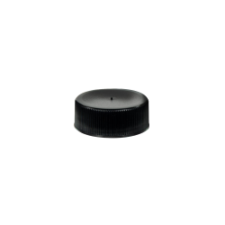 28/410 Black Polypropylene Unlined Ribbed Cap