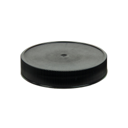 58/400 Black Polypropylene Unlined Ribbed Cap