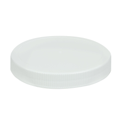 100/400 White Polypropylene Unlined Ribbed Cap
