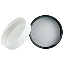 110/400 White Polypropylene Cap with Pressure Sensitive Liner