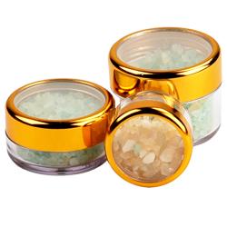 .3 oz./9mL Clear Acrylic Jars with Clear Gold Trim Cap