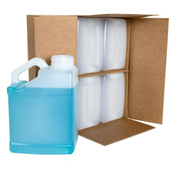 1 Gallon Natural F-Style Jugs with Slant Handles & 63mm Neck in Carton with Divider - Pack of 4 (Caps Sold Separately)