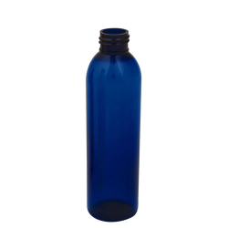6 oz. Cobalt Blue PET Cosmo Round Bottle with 24/410 Neck (Cap Sold Separately)