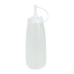 13 oz. Clear Squeezable Dispenser with White Dispensing Cap