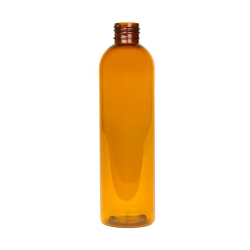 8 oz. Clarified Amber PET Cosmo Round Bottle with 24/410 Neck (Cap Sold Separately)