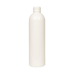 8 oz. White PET Cosmo Round Bottle with 24/410 Neck (Cap Sold Separately)
