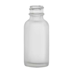 1 oz. Clear Frosted Glass Boston Round Bottle with 20/400 Neck  (Cap Sold Separately)
