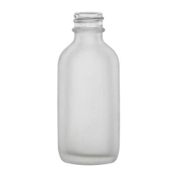 2 oz. Clear Frosted Glass Boston Round Bottle with 20/400 Neck  (Cap Sold Separately)