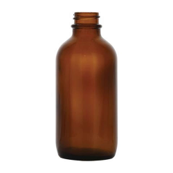 4 oz. Amber Glass Boston Round Bottle with 22/400 Neck (Cap Sold Separately)