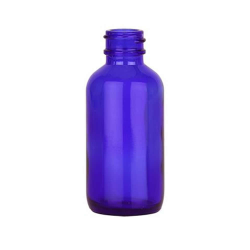 1 oz. Cobalt Glass Boston Round Bottle with 20/400 Neck (Cap Sold Separately)