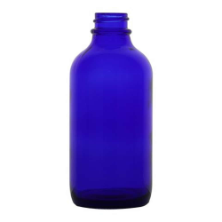 4 oz. Cobalt Glass Boston Round Bottle with 22/400 Neck (Cap Sold Separately)
