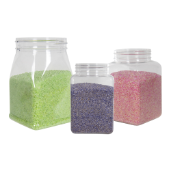 94 oz. Clear PET Square Jar with 110mm Neck (Caps Sold Separately)