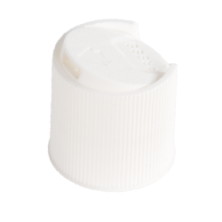 White Ribbed Disc Top Cap with 28/410 Neck