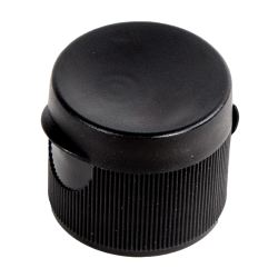 38/400 Black Ribbed Snap-Top Cap with .6875