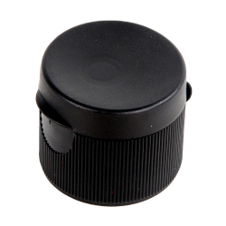 24/410 Black Ribbed Snap Top Cap with .25