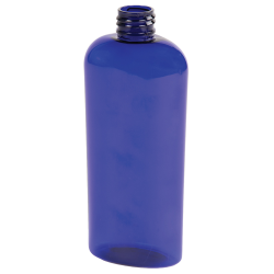 8 oz. Cobalt Blue PET Cosmo Oval Bottle with 24/410 Neck  (Cap Sold Separately)