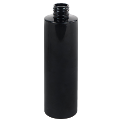 8 oz. Black PET Cylinder Bottle with 24/410 Neck  (Cap Sold Separately)