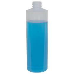 16 oz. Natural LDPE Cylindrical Bottle with 28/410 Neck  (Cap Sold Separately)