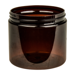 16 oz. Amber PET Straight Sided Jar with 89/400 Neck (Cap Sold Separately)