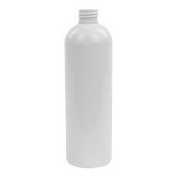 12 oz. White PET Cosmo Round Bottle with 24/410 Neck (Cap Sold Separately)