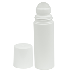 90mL White HDPE Rollerball with Overcap