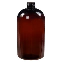 16 oz. Amber PET Squat Boston Round Bottle with 24/410 Neck (Caps Sold Separately)
