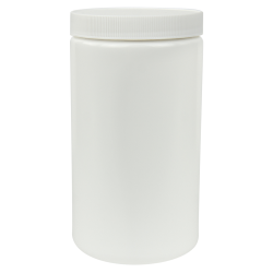 32 oz. White Straight Sided Jar with 89/400 Cap