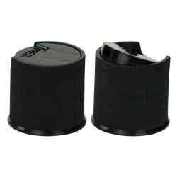 Black Ribbed Disc Top Cap with 20/410 Neck