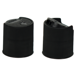 Black Ribbed Disc Top Cap with 24/410 Neck