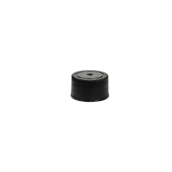 18/400 Black Polypropylene Unlined Ribbed Cap