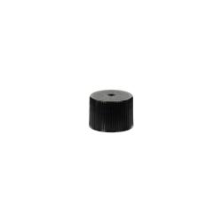 18/410 Black Polypropylene Unlined Ribbed Cap