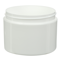 8 oz. White Polypropylene Straight Sided Double Wall Jar with 89/400 Neck (Cap Sold Separately)