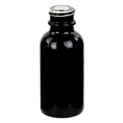 30mL Shiny Black E-Liquid Boston Round Glass Bottle with 20/400 Neck (Cap Sold Separately)