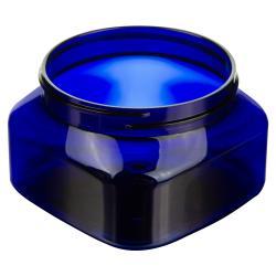 6 oz. Cobalt Blue PET Firenze Square Jar with 70/400 Neck (Cap Sold Separately)