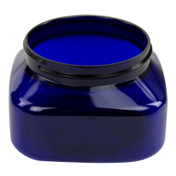 8 oz. Cobalt Blue PET Firenze Square Jar with 70/400 Neck (Cap Sold Separately)