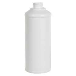 16 oz. White HDPE Round Steel-Yard Bottle with 28/400 Neck (Caps sold separately)