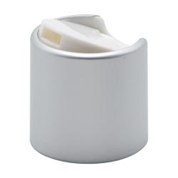 28/410 Brushed Silver & White Disc Dispensing Cap