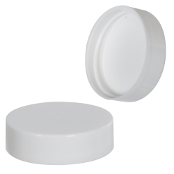 38/400 White Polypropylene Smooth Cap with PE Foam Liner