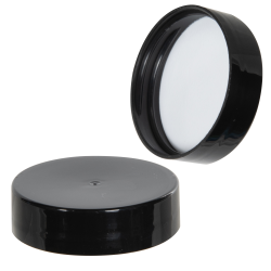 38/400 Black Polypropylene Smooth Cap with PE Foam Liner