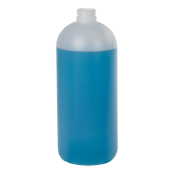 32 oz. Natural HDPE Boston Round Bottle with 28/410 Ratchet Neck (Sprayer or Cap Sold Separately)