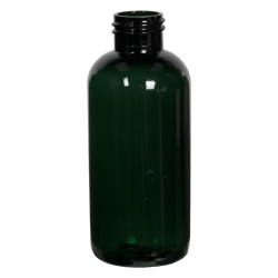 4 oz. Dark Green PET Traditional Boston Round Bottle with 24/410 Neck (Cap Sold Separately)