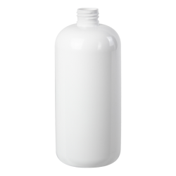 16 oz. White PET Traditional Boston Round Bottle with 24/410 Neck (Cap Sold Separately)