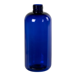 16 oz. Cobalt Blue PET Traditional Boston Round Bottle with 28/410 Neck (Cap Sold Separately)