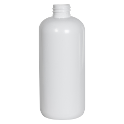 16 oz. White PET Traditional Boston Round Bottle with 28/410 Neck (Cap Sold Separately)