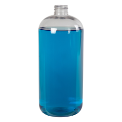 32 oz. Clear PET Traditional Boston Round Bottle with 28/410 Neck (Cap Sold Separately)