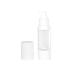 30mL Clear/White Aluminum Airless Treatment Bottle with Pump & Cap