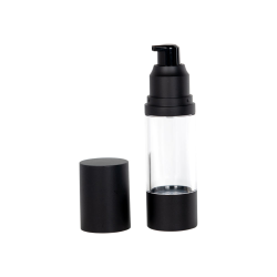 30mL Clear/Black Aluminum Airless Treatment Bottle with Pump & Cap